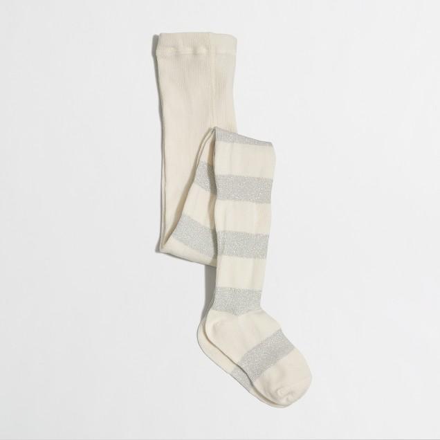Girls' silver-striped tights