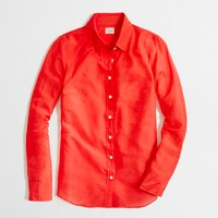 Factory cotton-silk classic button-down shirt