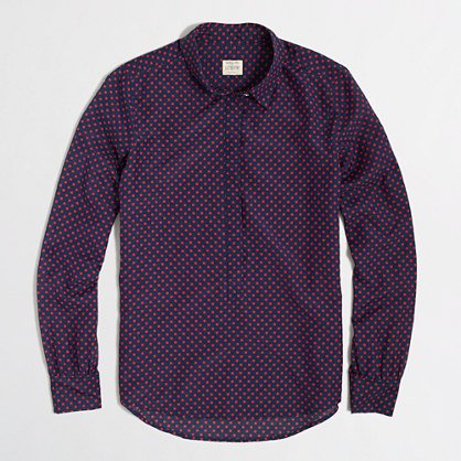 Factory printed cotton-silk popover shirt