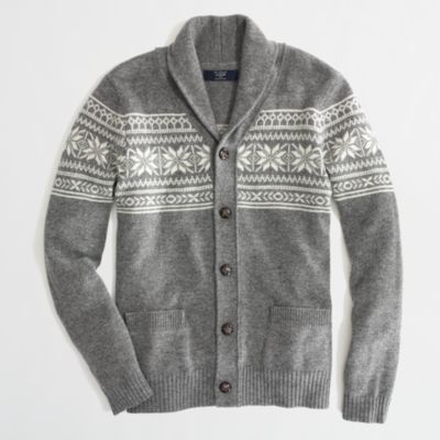 Factory lambswool Fair Isle shawl-collar cardigan : | Factory
