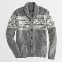 Factory lambswool Fair Isle shawl-collar cardigan