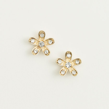 Factory crystal flower stud earrings
