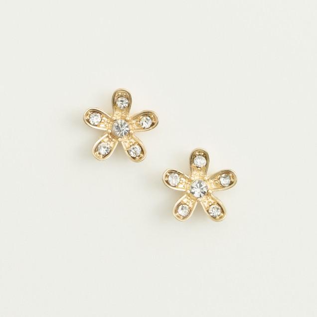 Factory crystal flower stud earrings