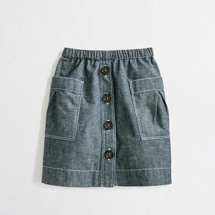 Factory girls' chambray tortoise-button skirt