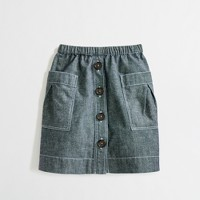 Factory girls' chambray tortoise-button skirt