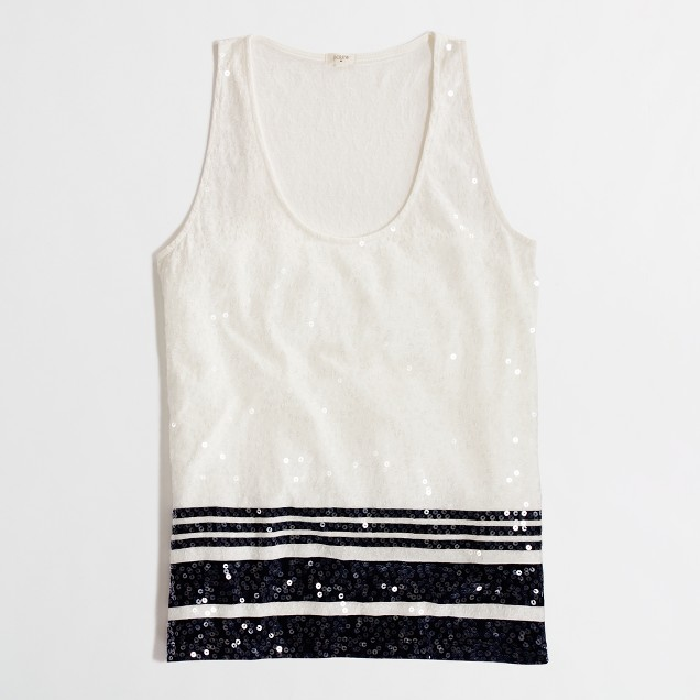 Factory sequin-stripe tank