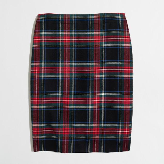 Petite plaid tartan skirt