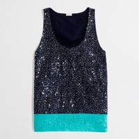 Factory colorblock sequin tank
