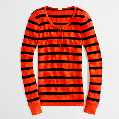 Factory gold-button waffle henley in stripe