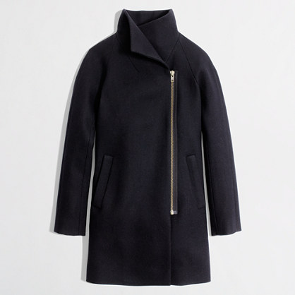 Factory wool-blend funnelneck coat