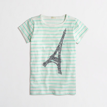 Factory girls' stripe sequin Eiffel tower keepsake tee