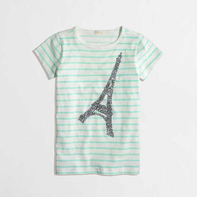 Factory girls' stripe sequin Eiffel tower keepsake tee