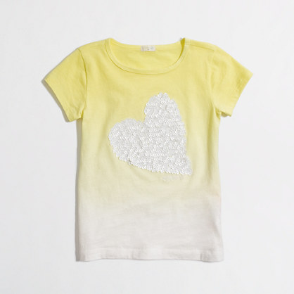 Factory girls' dip-dye sequin heart tee