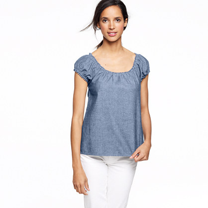 Factory cap-sleeve blouse in chambray