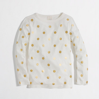Factory girls' long-sleeve shimmer-dot tee
