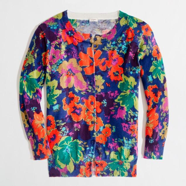 Factory classic crewneck cardigan in floral