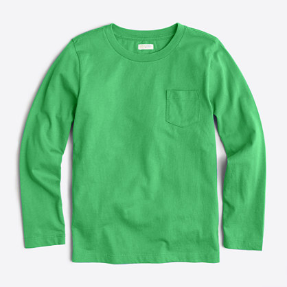 Boys' long-sleeve jersey pocket T-shirt