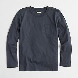 Boys' long-sleeve jersey pocket T-shirt