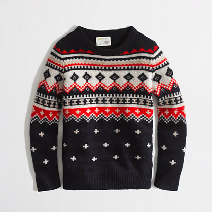 Factory boys' lambswool Fair Isle sweater