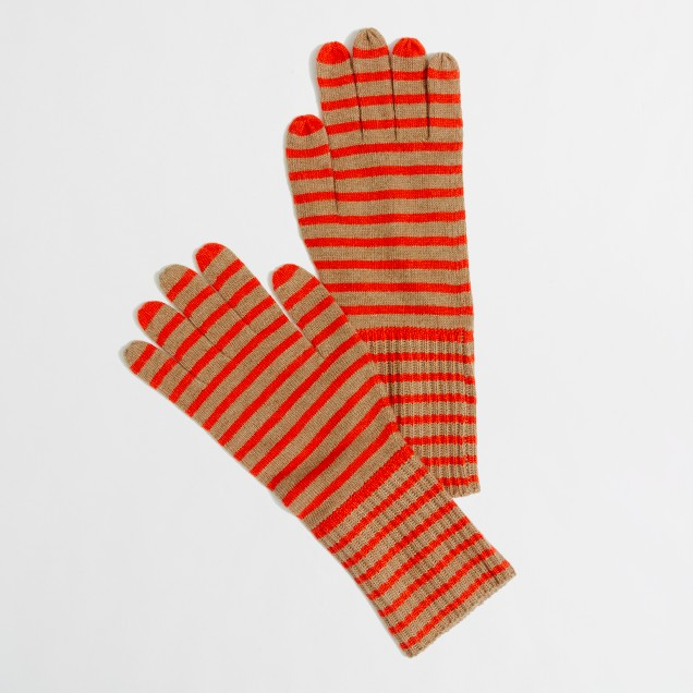 Factory stripe long ribbed gloves