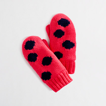 Factory girls' polka-dot mittens