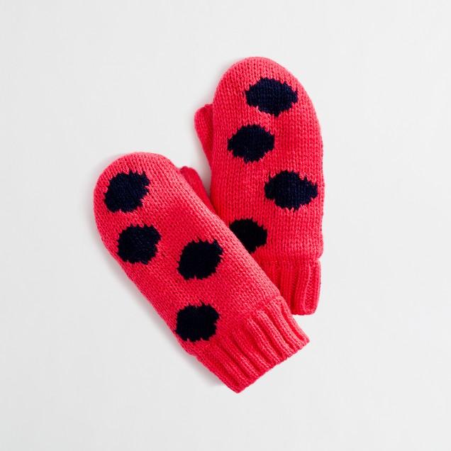 Factory girls' polka-dot mittens
