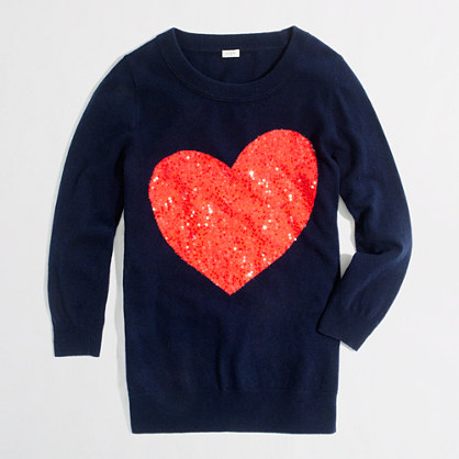 Factory intarsia Charley sweater in sequin heart