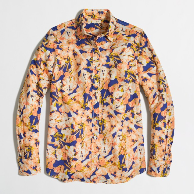 Petite classic button-down shirt in printed cotton