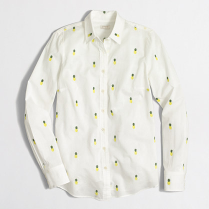 Factory classic button-down shirt in printed cotton