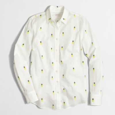Women's Classic Button-Down Shirt In Printed Cotton