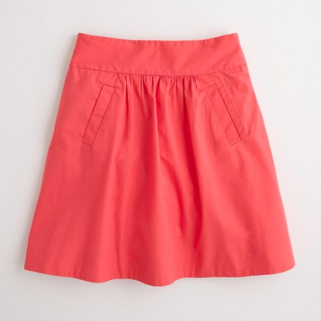 Factory flutter pocket skirt in cotton poplin