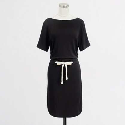 Factory boatneck tie-waist dress