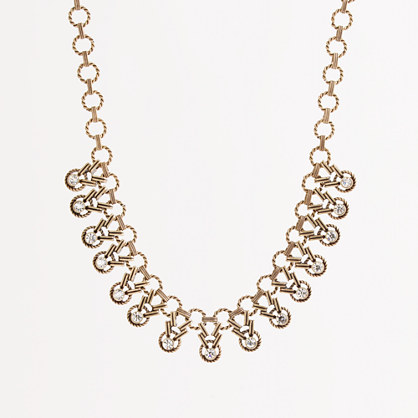 Factory chain-link crystal drop necklace