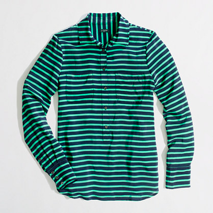 Factory stripe silk popover blouse