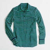 Factory stripe silk popover blouse