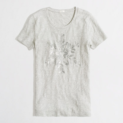 Factory sequin snowflake graphic tee