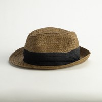 Factory straw trilby hat