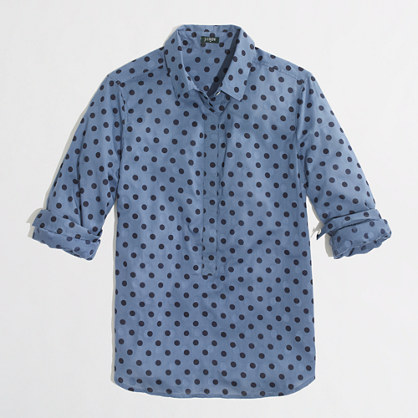 Factory jacquard dot popover shirt
