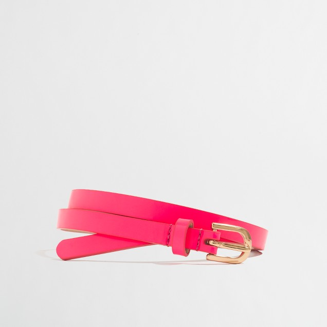 Factory girls' neon patent skinny belt