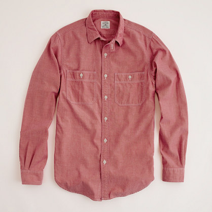 Mens Red Chambray Shirt