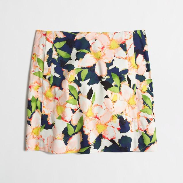 Printed cotton sateen mini skirt