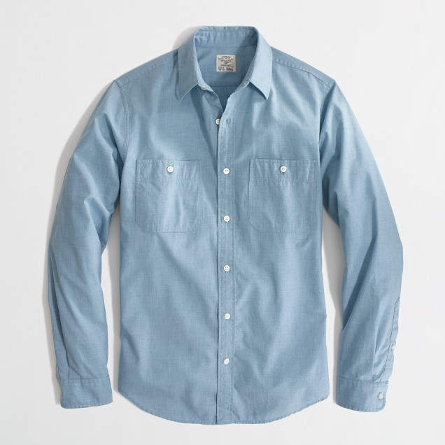 Factory workshirt in heathered poplin