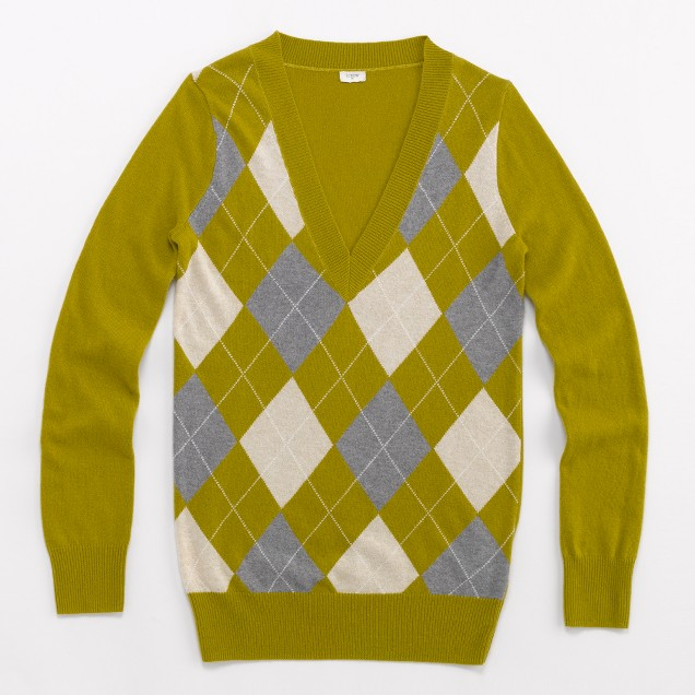 Factory argyle V-neck sweater