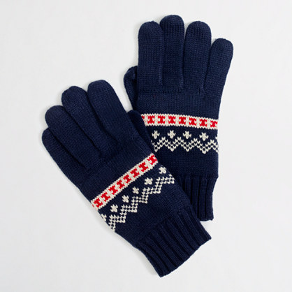 Factory festive Fair Isle gloves
