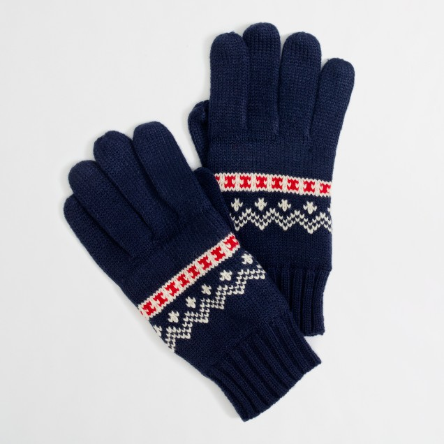 Factory festive Fair Isle gloves