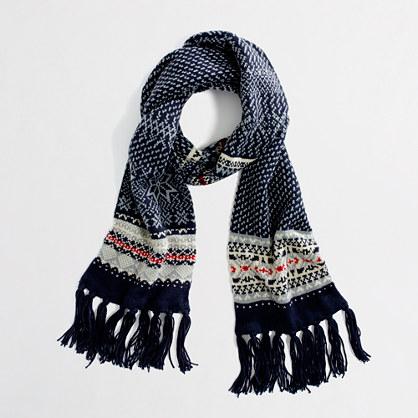 Factory snowflake Fair Isle scarf