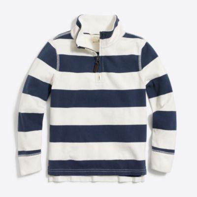 Boys' striped sueded half-zip popover sweatshirt