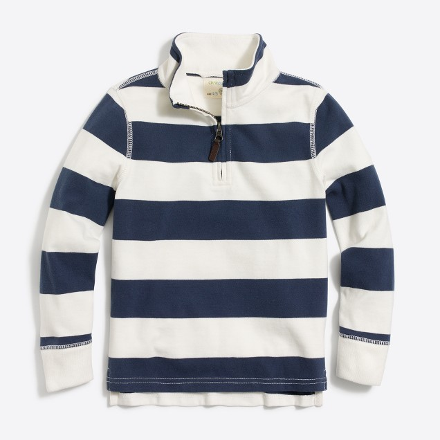 Boys' striped sueded half-zip popover sweatshirt