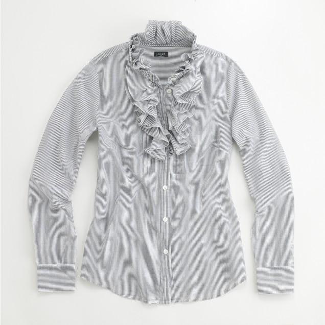 Factory Christen stripe ruffled tuxedo shirt