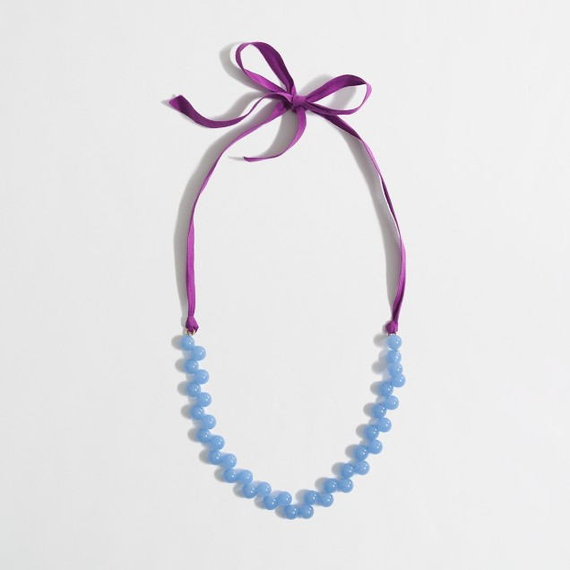 Factory girls' ribbon and bead necklace